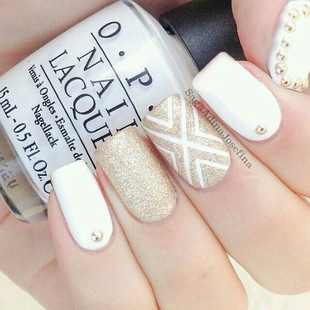 stunning gold and white nail design | Nail Art ideas | Pinterest ...