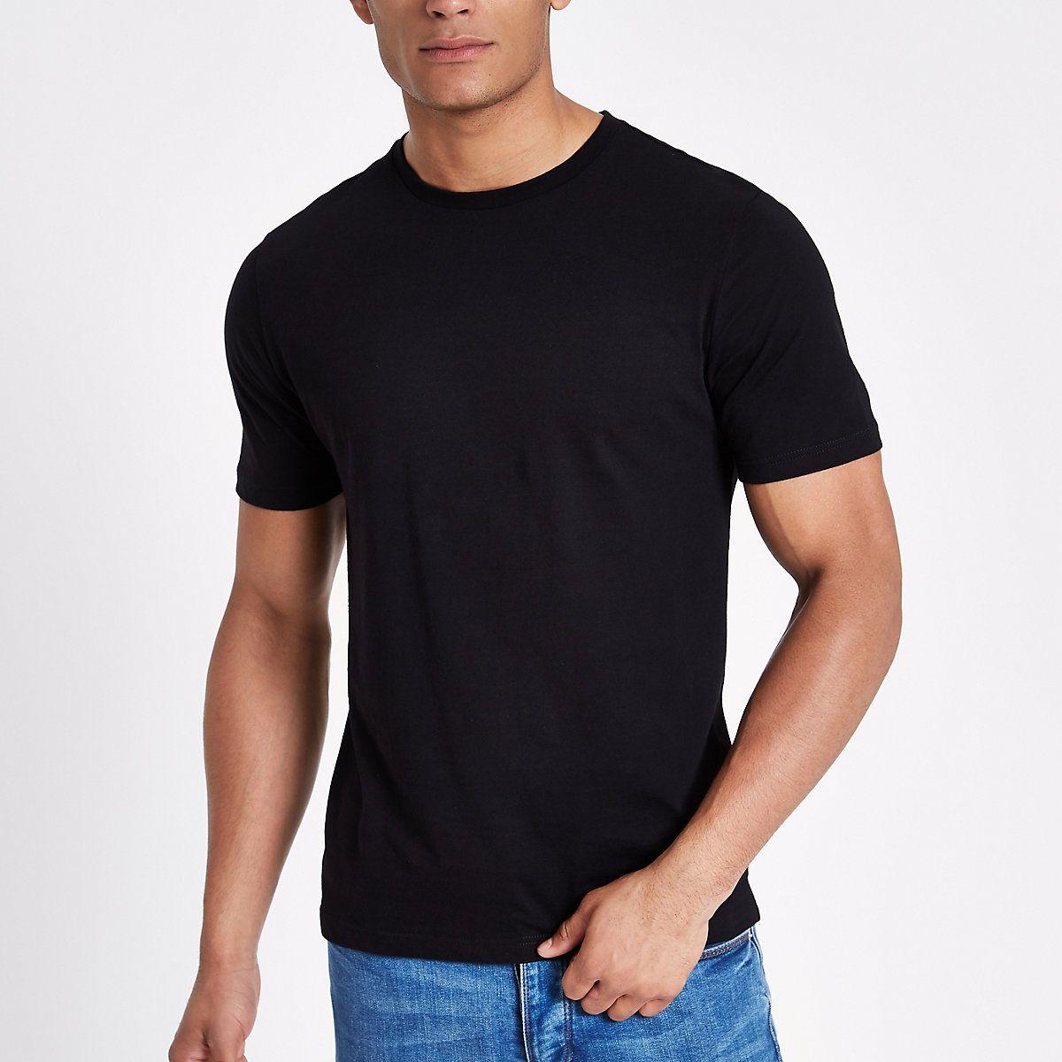Black slim fit crew neck tshirt tshirts tshirts