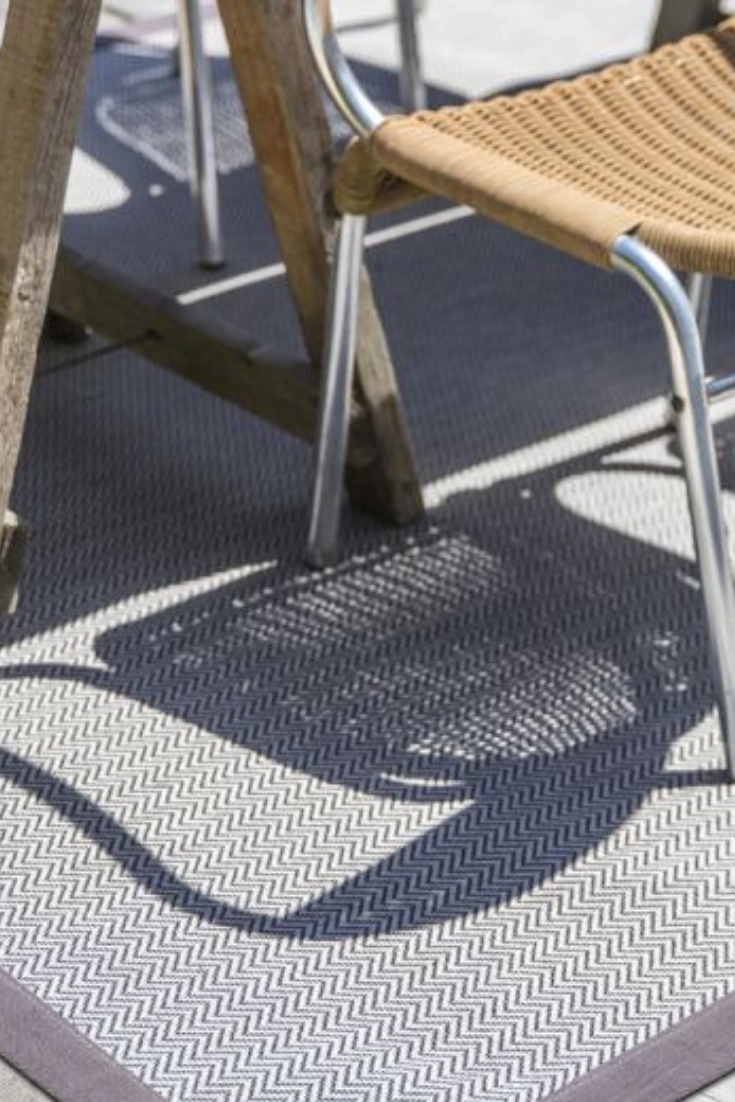Anywhere Herringbone Ice bespoke outdoor rug from