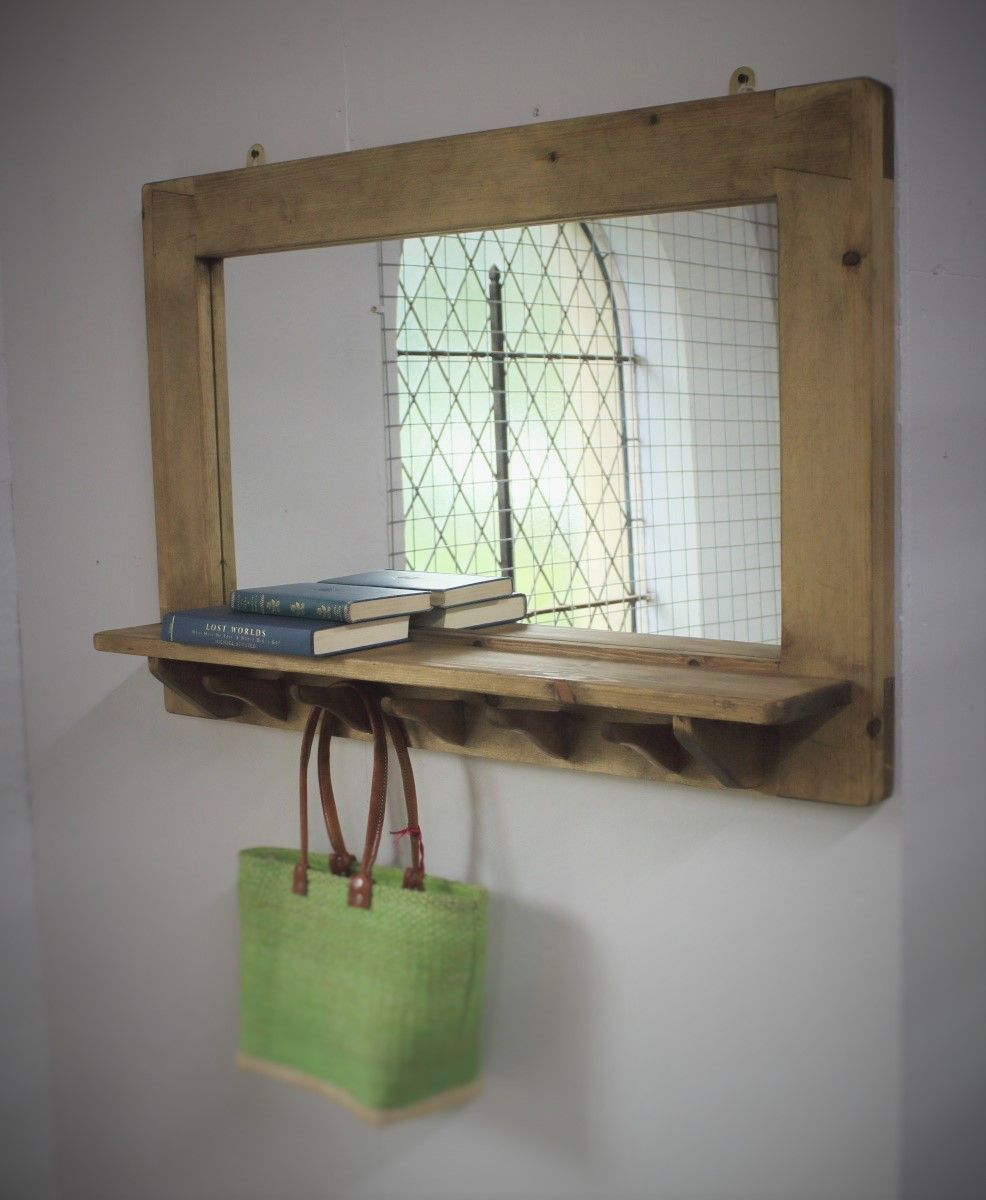 handmade mirror with shelf in solid natural wood by handmade mirror with shelf in solid natural wood by marcwoodjoinery