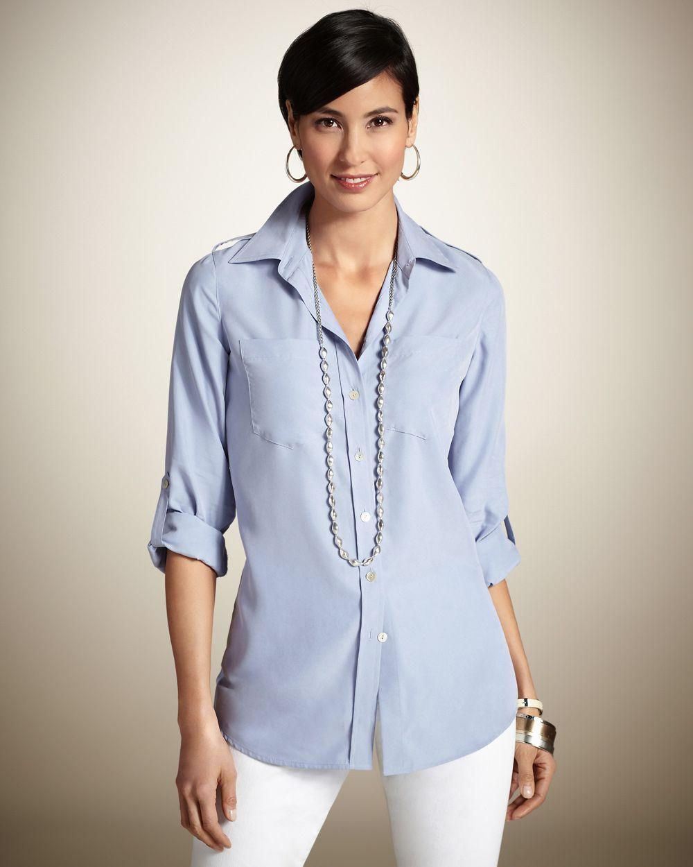 Chico's Women's Secret Silk Utility Shirt