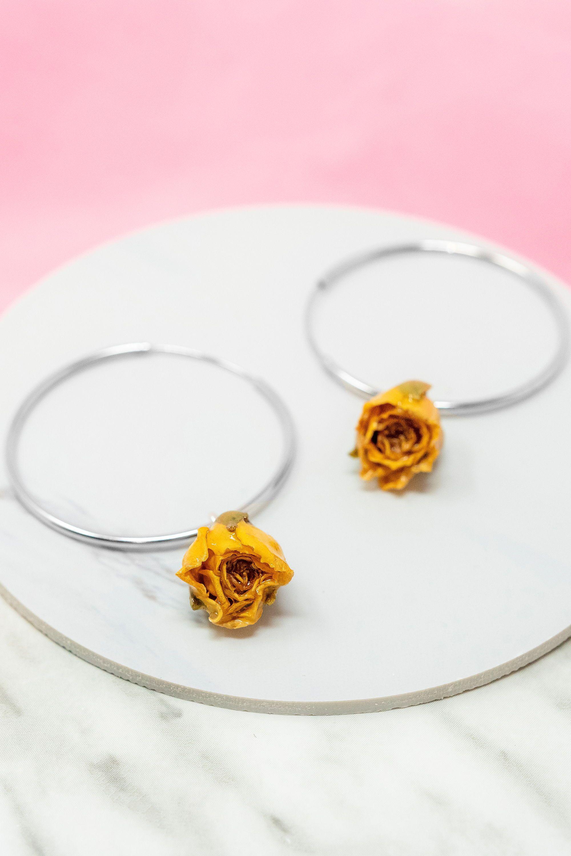 Real Yellow Rose Hoop Earrings Real Flower Jewelry 925 Sterling Silver In 2020 Real Flower Jewelry Flower Jewellery Crystal Clear Resin