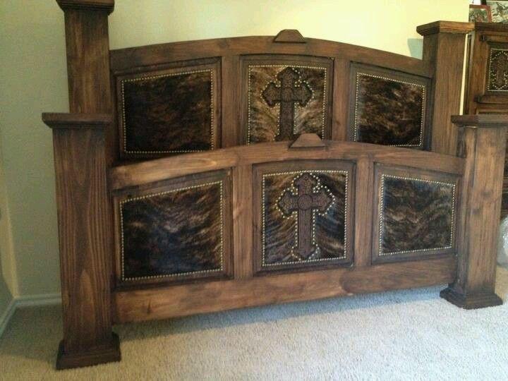 Rustic Cross Hide Inlaid Bed