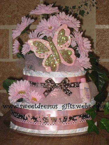 """""""Pink and Brown Butterfly Dreams"""" 2Tier Personalized Floral Diaper Cake. Visit us at www.sweetdreams_gifts.webs.com"""