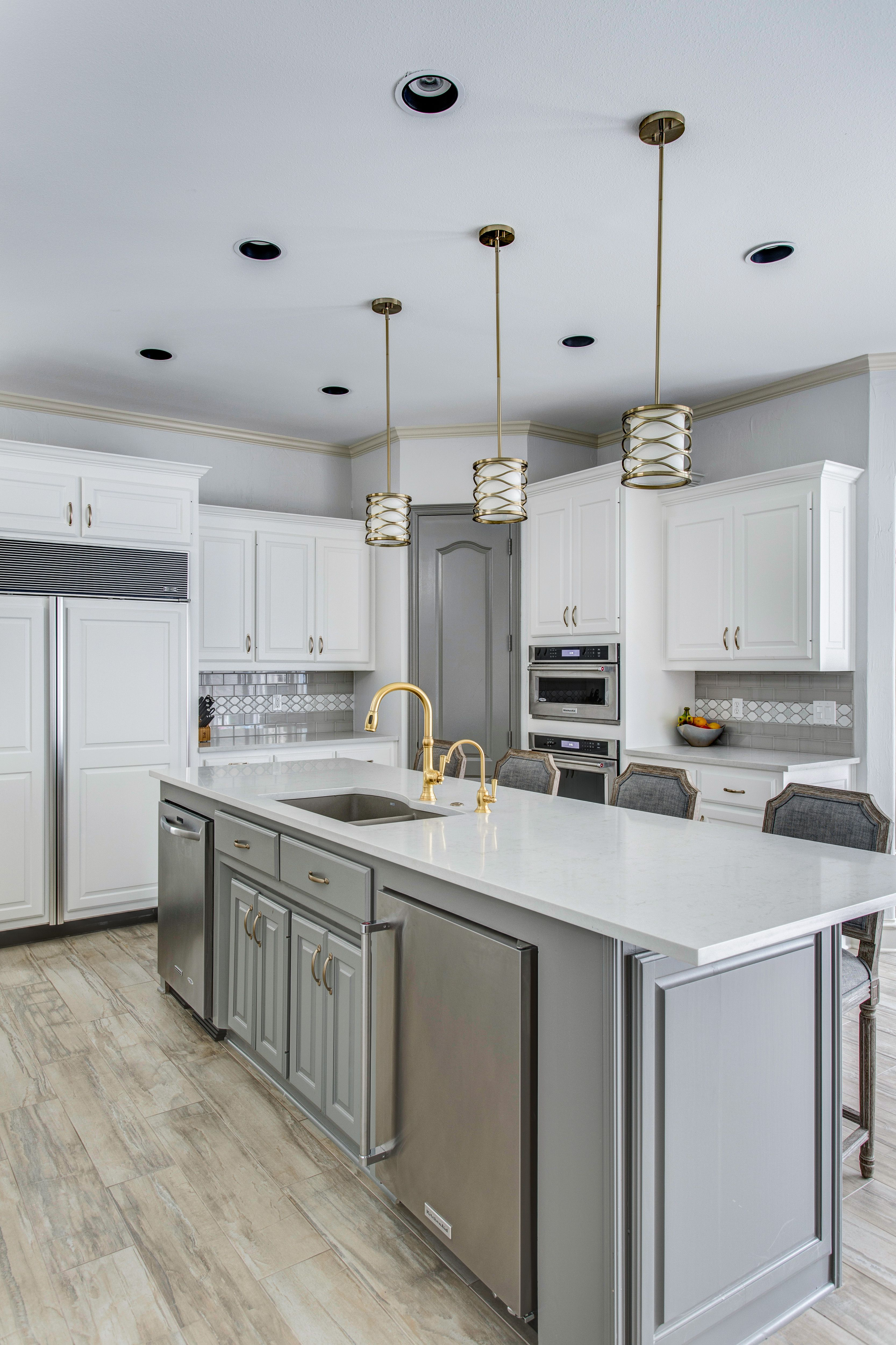 grey and white kitchen white cabinets with grey subway tile and a decorative glass liner grey on kitchen cabinets grey and white id=69290