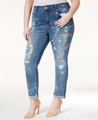 a6eb45c928a Melissa McCarthy Seven7 Plus Size Paint-Splattered Straight-Leg Jeans