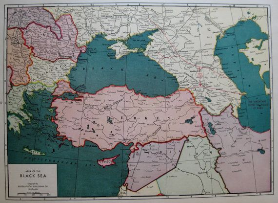 Antique black sea map rare poster size turkey iran iraq syria pipe antique black sea map rare poster size turkey iran iraq syria pipe lines 1942 vintage map gift for traveler men birthday wedding 5869 gumiabroncs Images