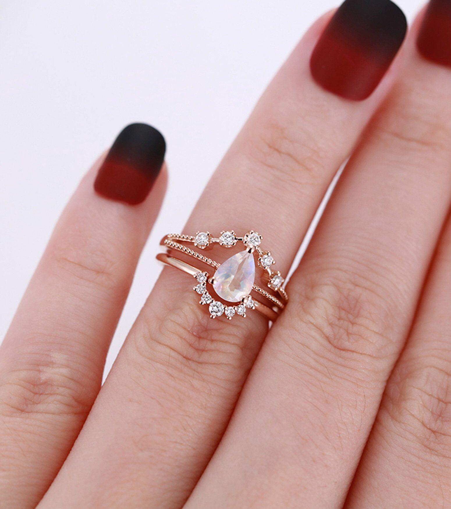 Moonstone engagement ring set Rose gold Vintage Curved