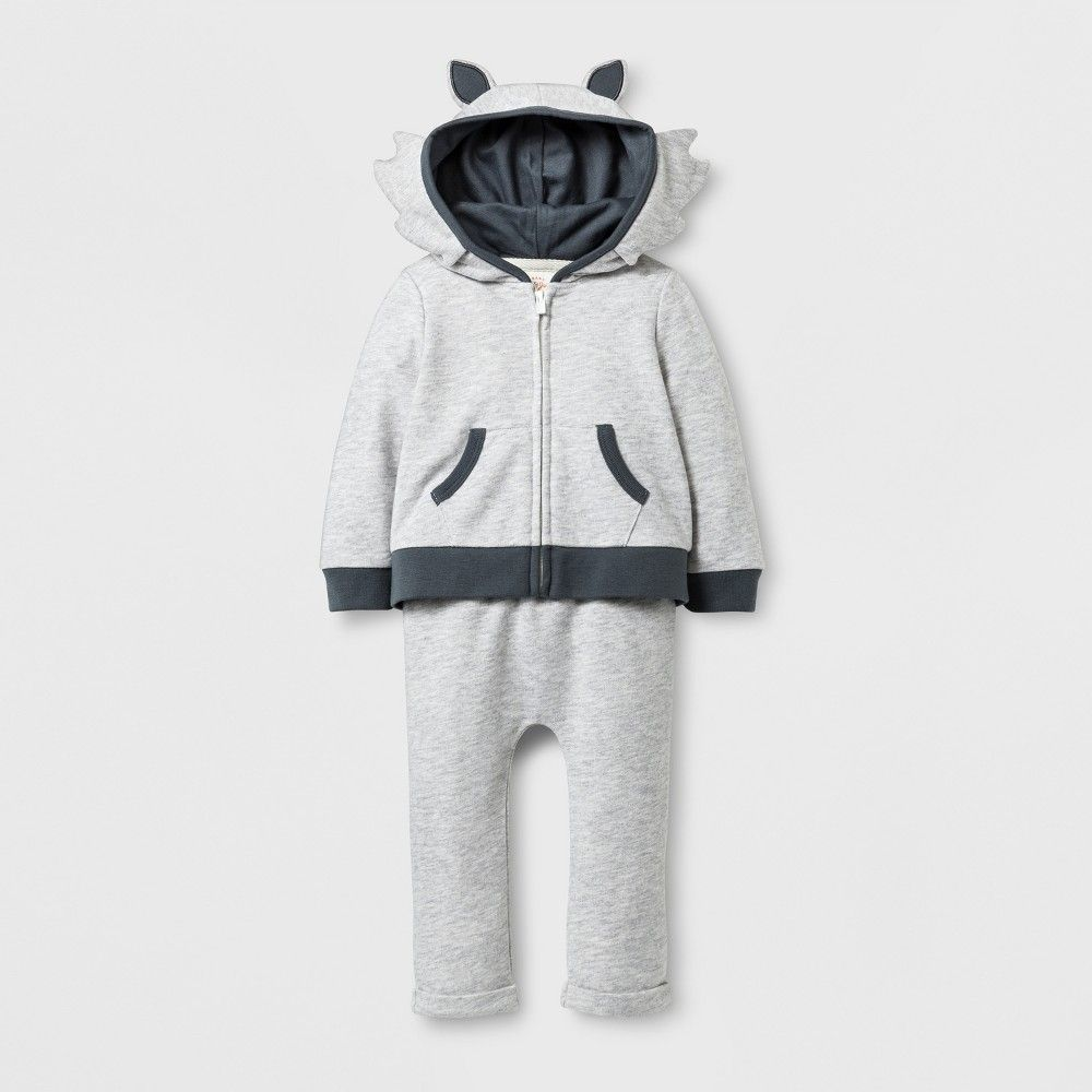 bd63833f9 Baby Boys  2pc Wolf Hoodie and Jogger Set - Cat   Jack Gray 6-9 ...