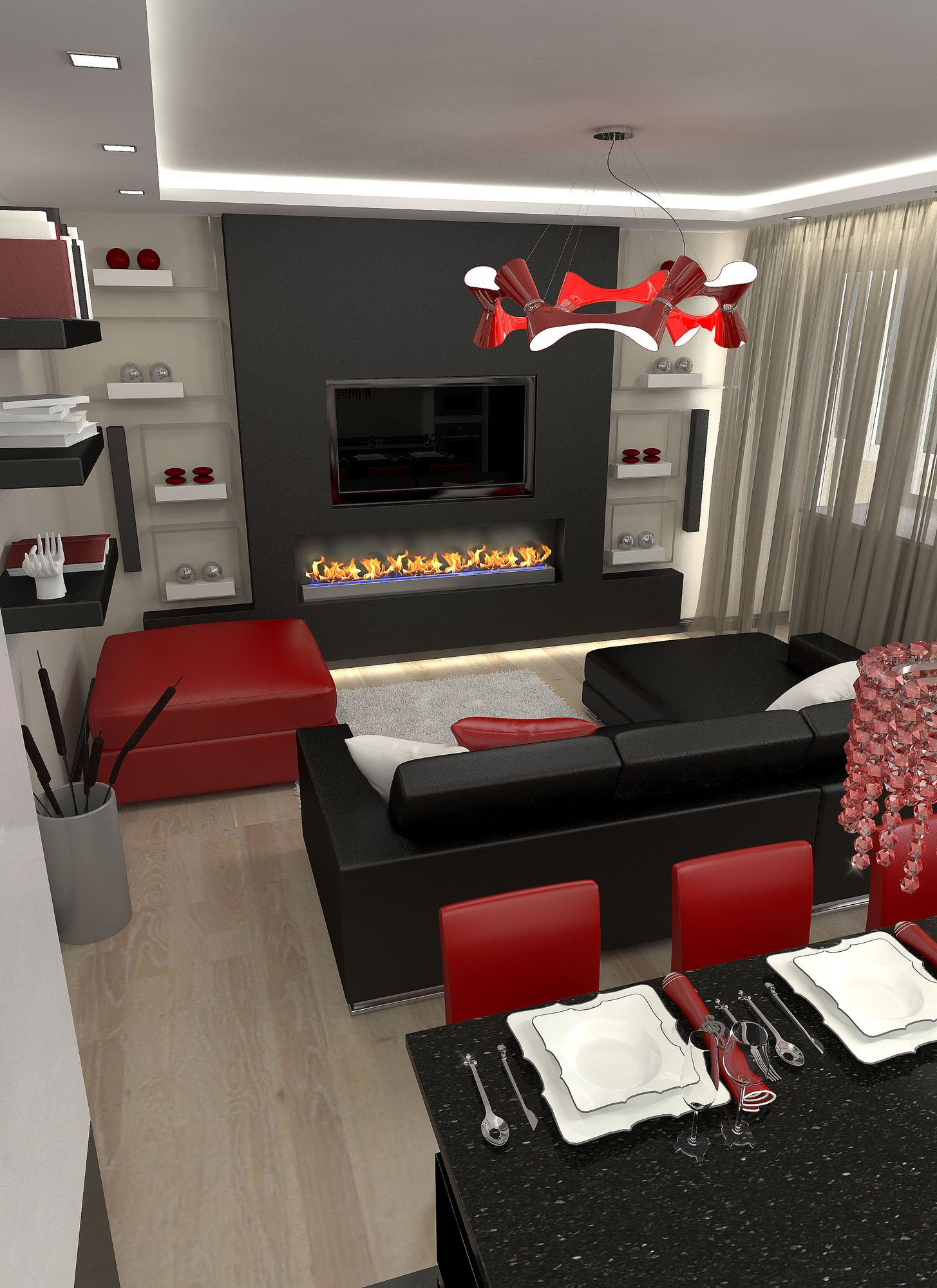 Turn your living room into a lovely space that's relaxing yet functional by selecting the right lighting. Pin by Kim Horvath on Future home | Black, red living room ...