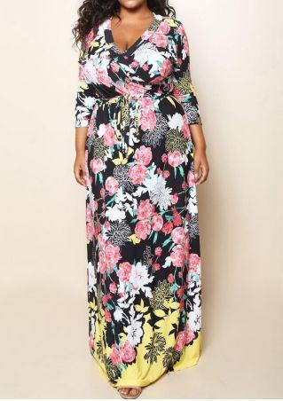 dae04584224 Plus Size Floral Wrap V-Neck Maxi Dress  dress  floral  trend ...