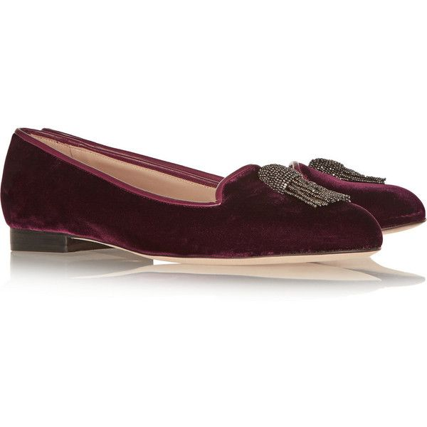 Oscar de la Renta Ciciclo velvet loafers ($293) ❤ liked on Polyvore featuring shoes, loafers, burgundy flats, slip-on shoes, velvet loafers, slip on shoes and slip-on loafers