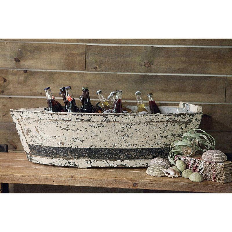 3r studios wood decorative boat with tin insert beverage