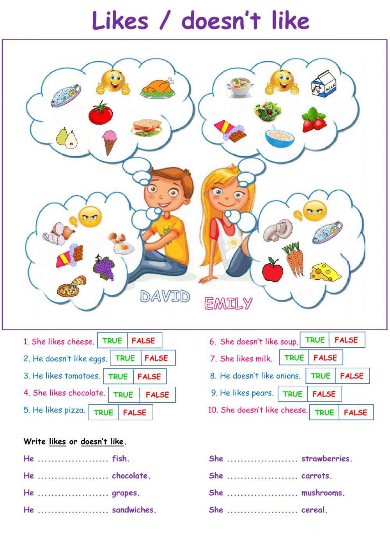 Likes Doesn T Likes Interactive Worksheet English Worksheets For Kids English Lessons For Kids Learning English For Kids Online worksheets for grade english