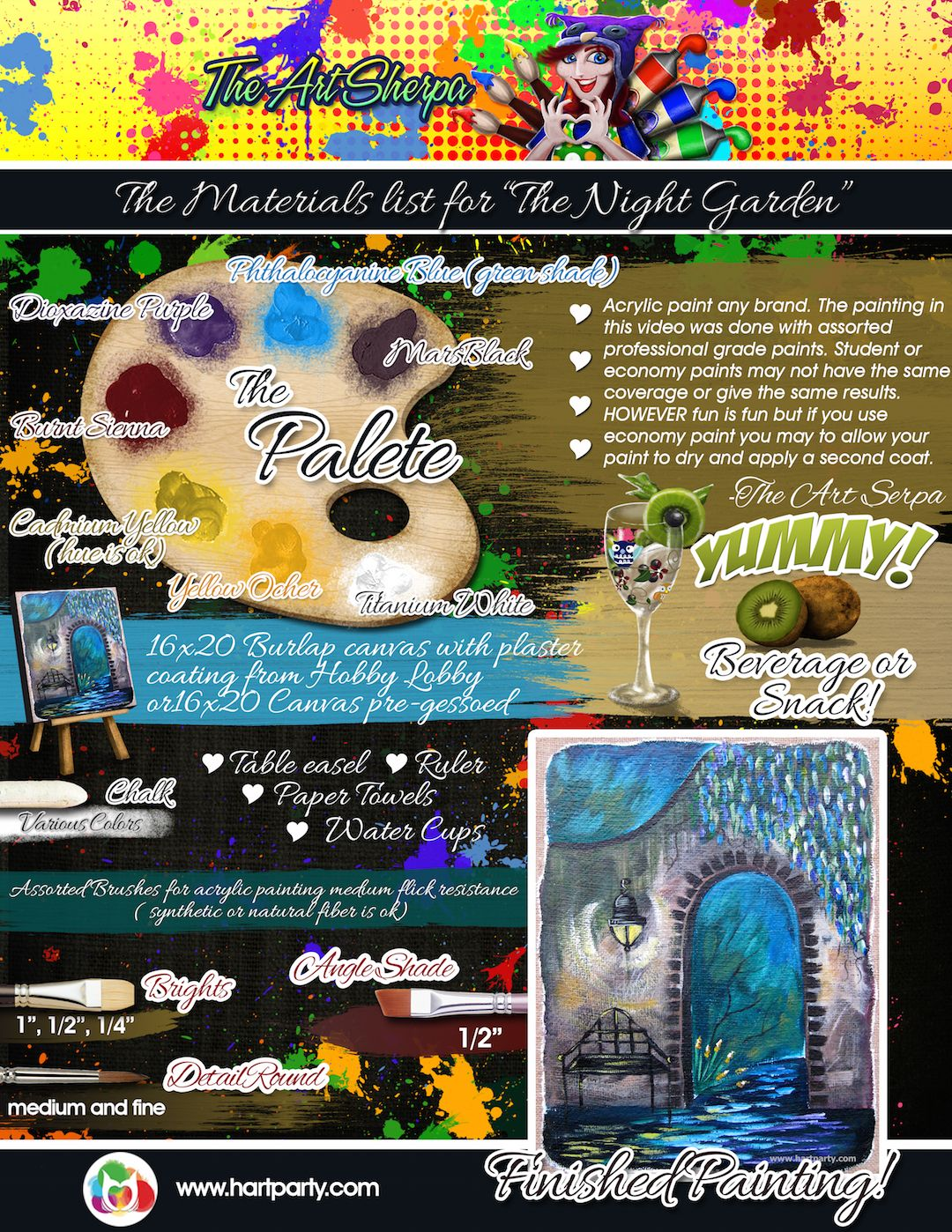 The Materials List For The Night Garden Guided Online Art Lesson