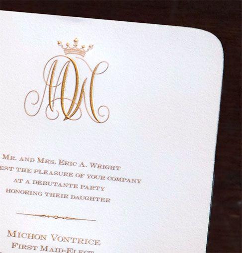 Scriptura Regal Monogram Debutante Party Invitation Ideas