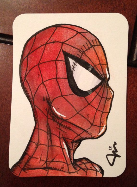 Spiderman Profile 25 X 35 Sketchcard Color By Jasonrutherford 10 00 Spiderman Artist Inspiration Watercolor
