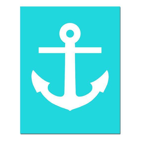 SALE - Anchor - 11x14 Nautical Beach Print - Aqua White