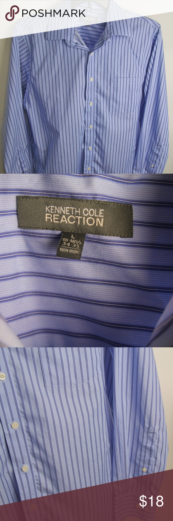 EUC KENNETH COLE REACTION (Size Large) Worn very little and well taken care of No Flaws Noted Smoke Free Home Purple Stripes Size Large 100% Cotton L/S Button Down Front  Chest Pocket on Left Side Measurements Approx and taken with shirt laying flat Chest 48