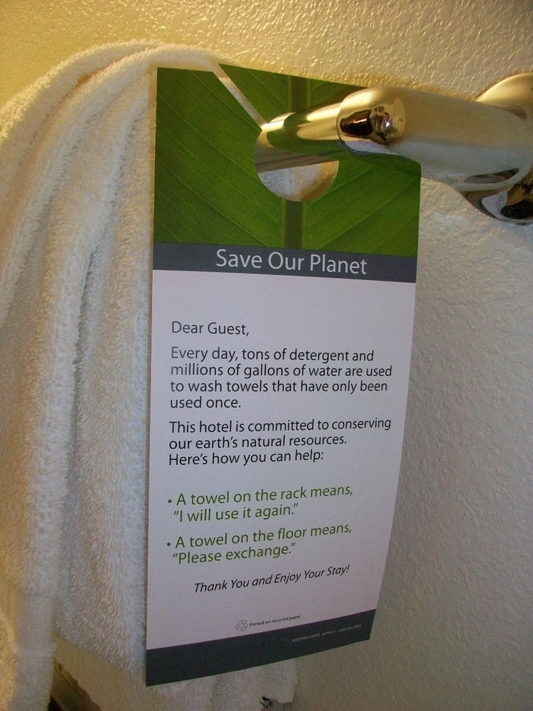 Ecofriendly signboard for guests to decide if they want