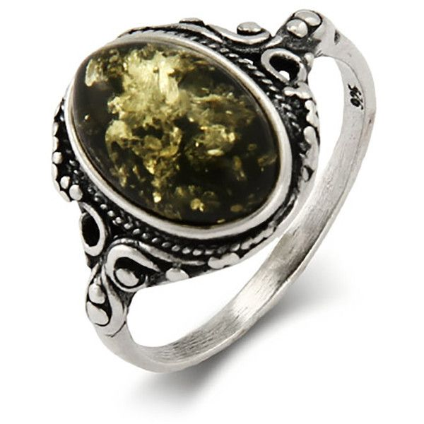 Green Baltic Amber Ring in Victorian Setting | Eve's Addiction® ($29) ❤ liked on Polyvore featuring jewelry, rings, amber jewellery, vintage amber ring, amber ring, vintage jewelry and victorian ring