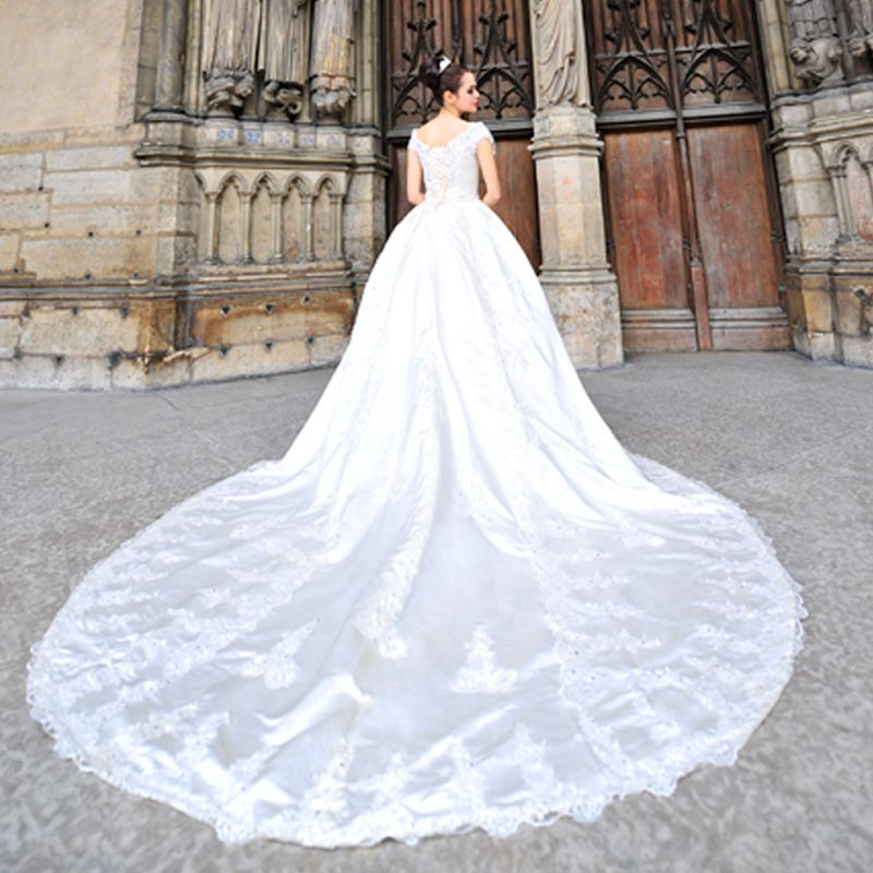 1980s Vintage Ball Gown Wedding Dresses With Luxury Train | 80s ...