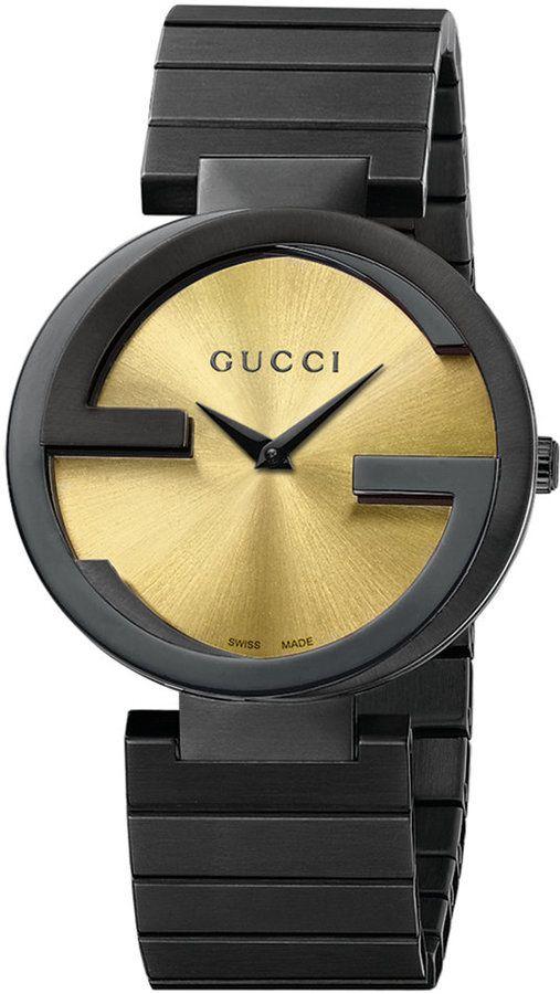 7b0f2de4e8c Gucci Unisex Swiss Interlocking Latin Grammy® Special Edition Black PVD  Bracelet Watch 37mm YA133314