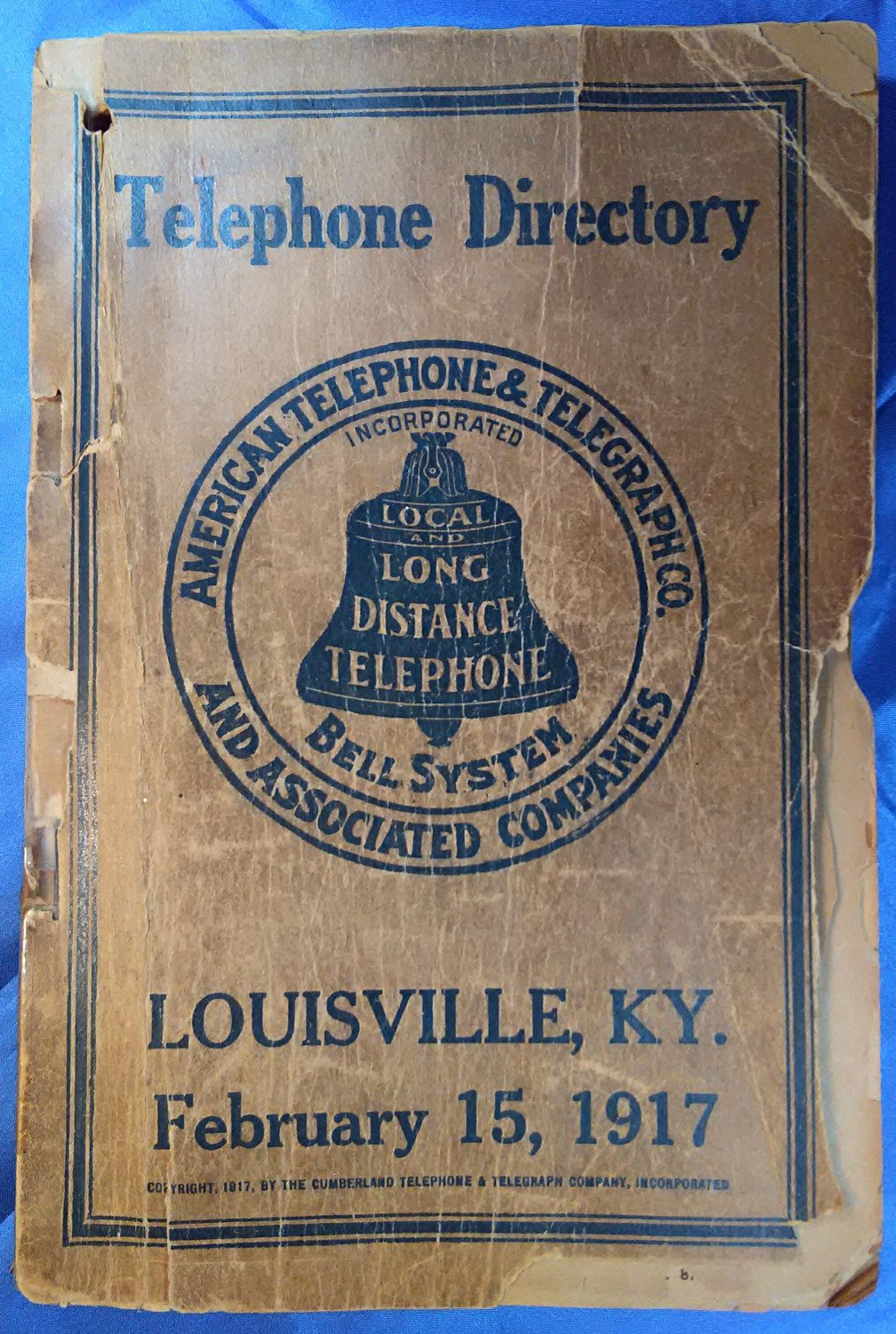 1917 Louisville Telephone Directory Old Phone Book Antique Business Kentucky Genealogy Historical Collectible By
