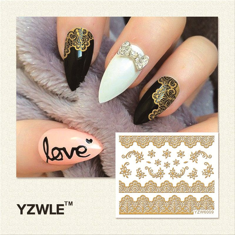 Yzwle 1 Sheet Hot Gold 3d Nail Art Stickers Diy Nail Decorations