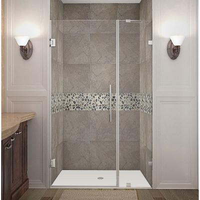 Aston Nautis 40 In X 72 In Frameless Hinged Shower Door In Stainless Steel With Clear Glass Shower Doors Frameless Shower Doors Frameless Shower