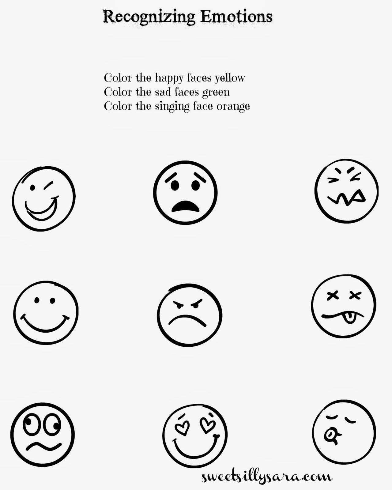 Sweet Silly Sara Recognizing Emotions Worksheet Emotions Worksheet Emotion Worksheet Feelings Worksheet Free preschool feelings worksheets