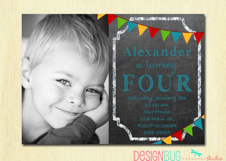 Boys chalkboard birthday invitation 1 2 3 4 5 year