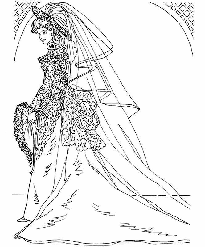 Princess Bride Coloring Page Wedding Coloring Pages Barbie