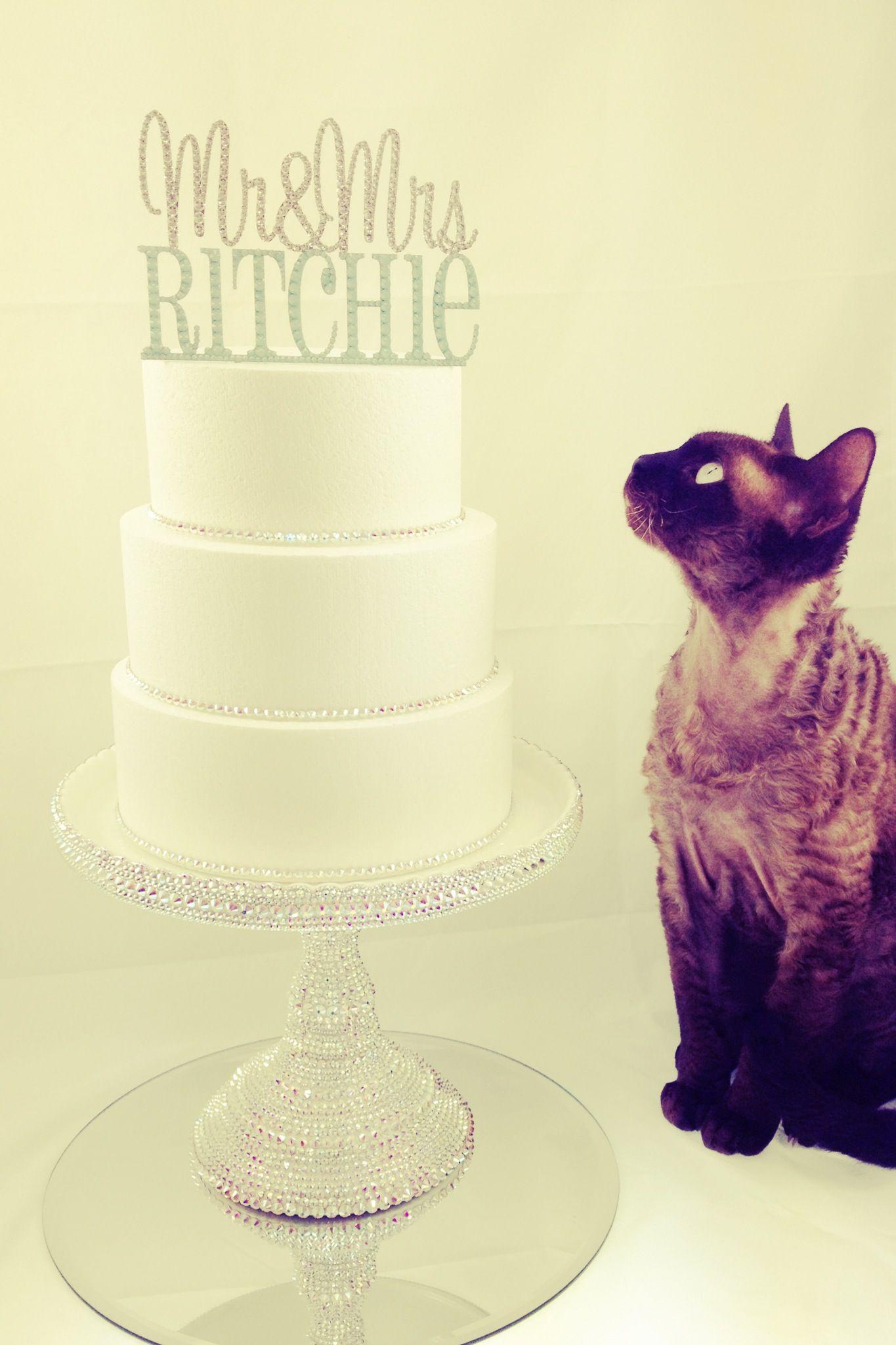 Mr & Mrs #wedding #cake #topper embellished with #Swarovski #Crystal ...