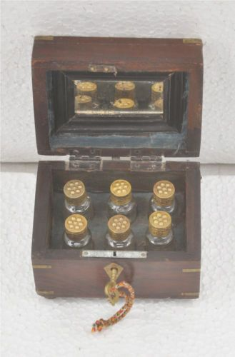 1850s-Indian-Antique-Hand-Crafted-Wooden-Brass-Inlay-6-Glass-Perfume-Bottle-Box