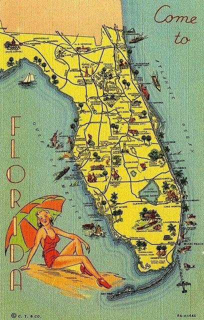 Vintage Florida Travel Map