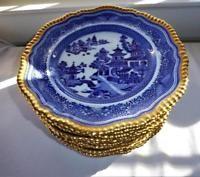 12 ANTIQUE 19c COPELAND SPODE BLUE u0026 WHITE ASIAN DINNER PLATES GILT GADROON RIM & Antique Staffordshire Chinese Marine Dark Blue Transferware Dinner ...