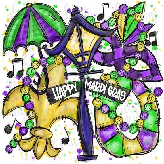 Mardi Gras Sublimation Png Design Hand Drawn Digital Etsy In 2021 Mardi Gras Crafts Louisiana Mardi Gras Mardi Gras