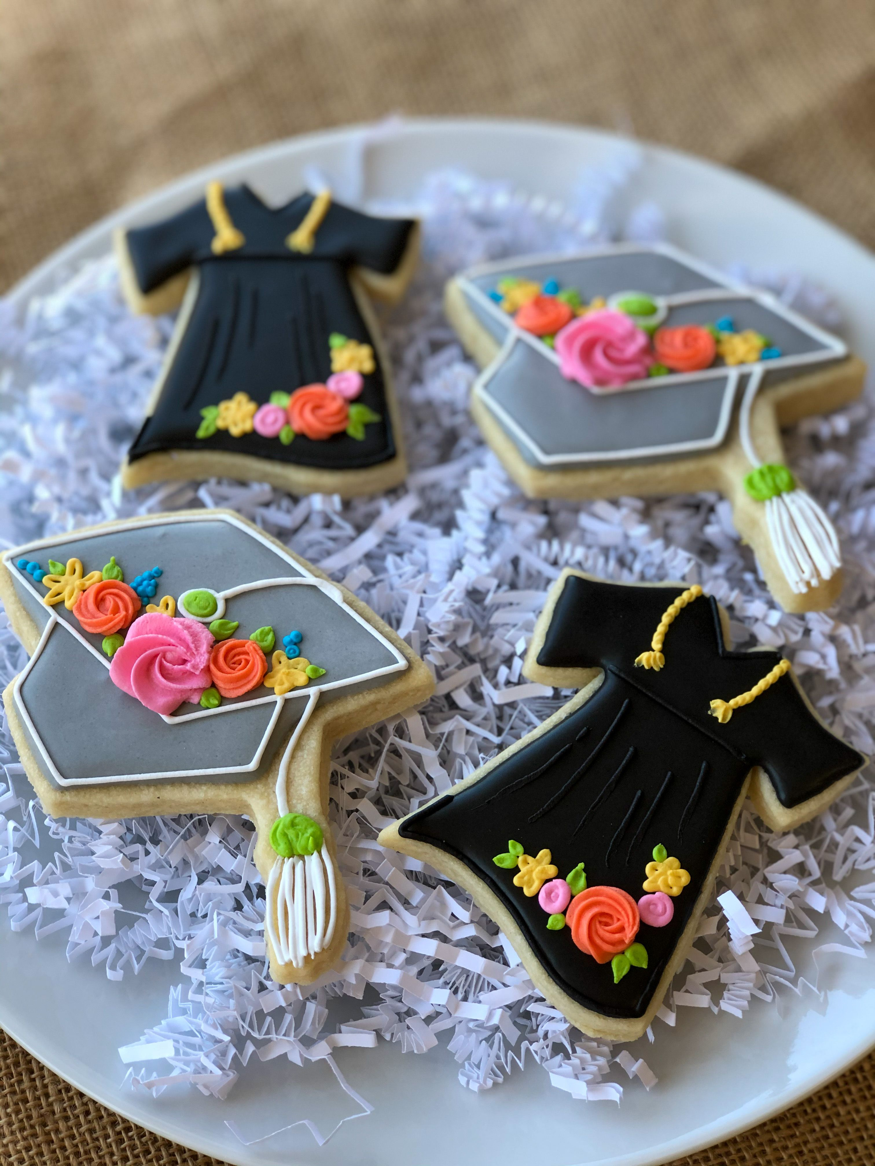 Graduation Cap And Gown Decorated Sugar Cookies In