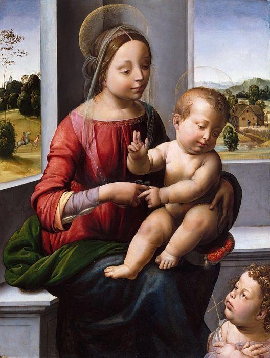Фра Бартоломео (Италия, Флоренция 1473-1517) - Мадонна и младенец с молодым святым Иоанном Крестителем. часть 4 Музей Метрополитен