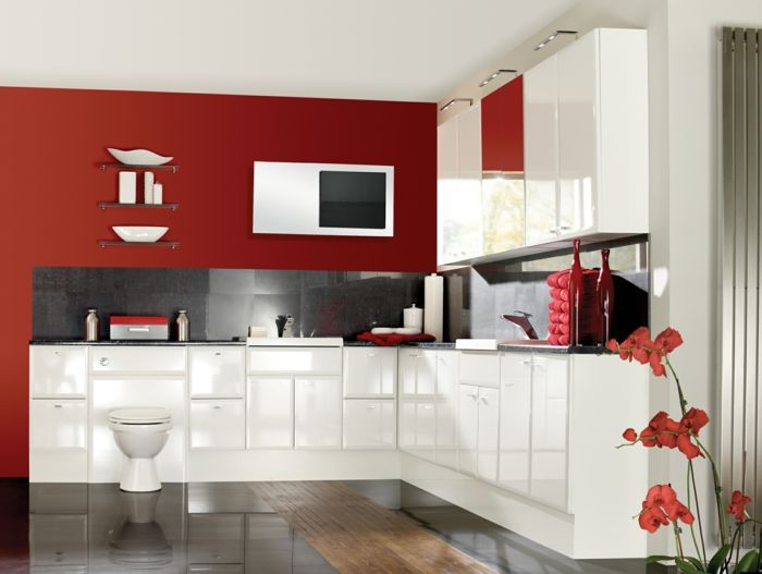 Wände Streichen Ideen Rote Akzentwand Weiße Küchenschränke Images