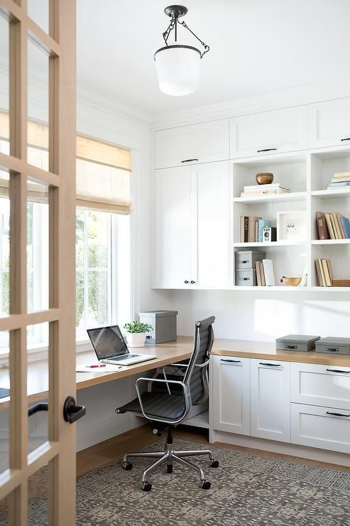 Chic First Floor Home Office Features Floor To Ceiling White Built