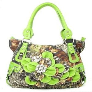 Western Green Camouflage Flower Rhinestone Concho Handbag Purse Large