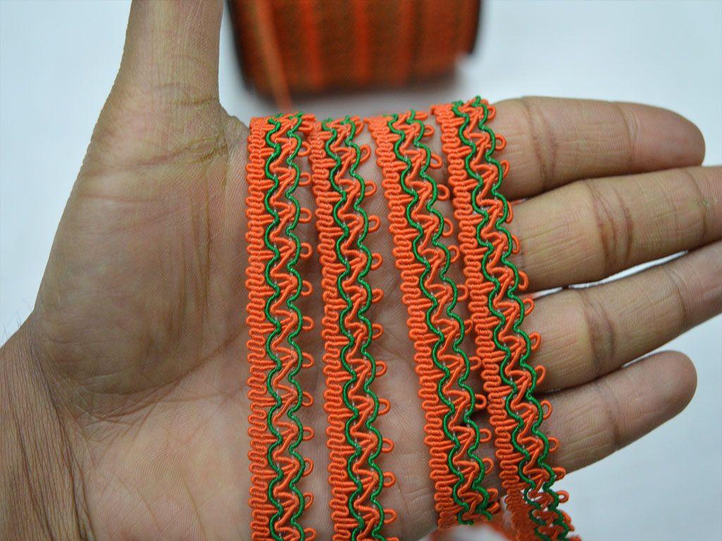 Orange Scroll Braided Curtains Decorative Ribbon Indian Edging