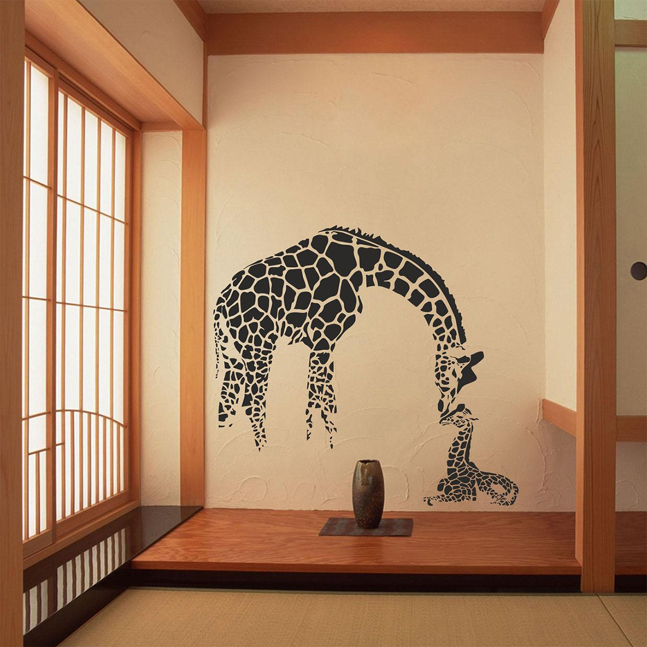 Mother Giraffe wall decal, Mother wall decal, Animals wall decal ...