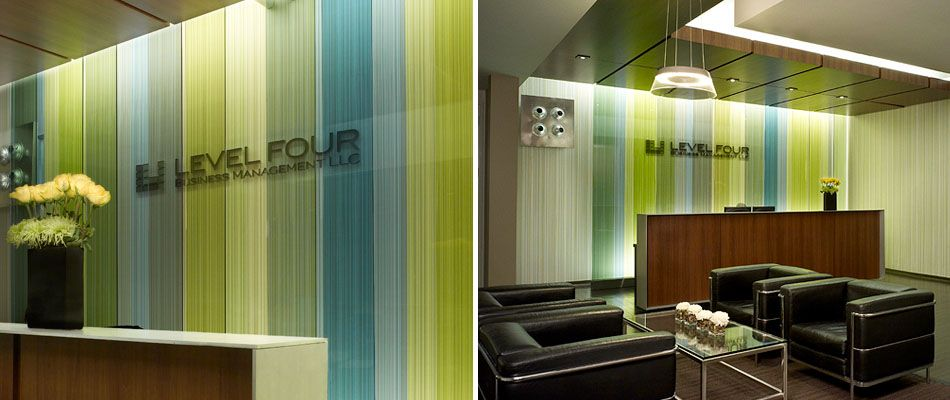 colored glass over a unique wall covering in the front lobby and