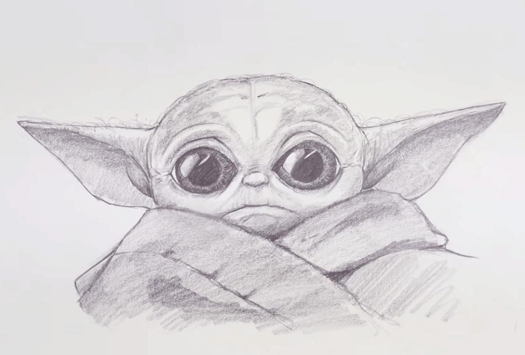 Baby Yoda Drawing Easy Using One Pencil Yoda Drawing Star Wars Drawings Art Drawings Sketches Simple