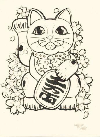 Pin de Lexyew Meto en By me | Tatuaje de gato de la suerte ...