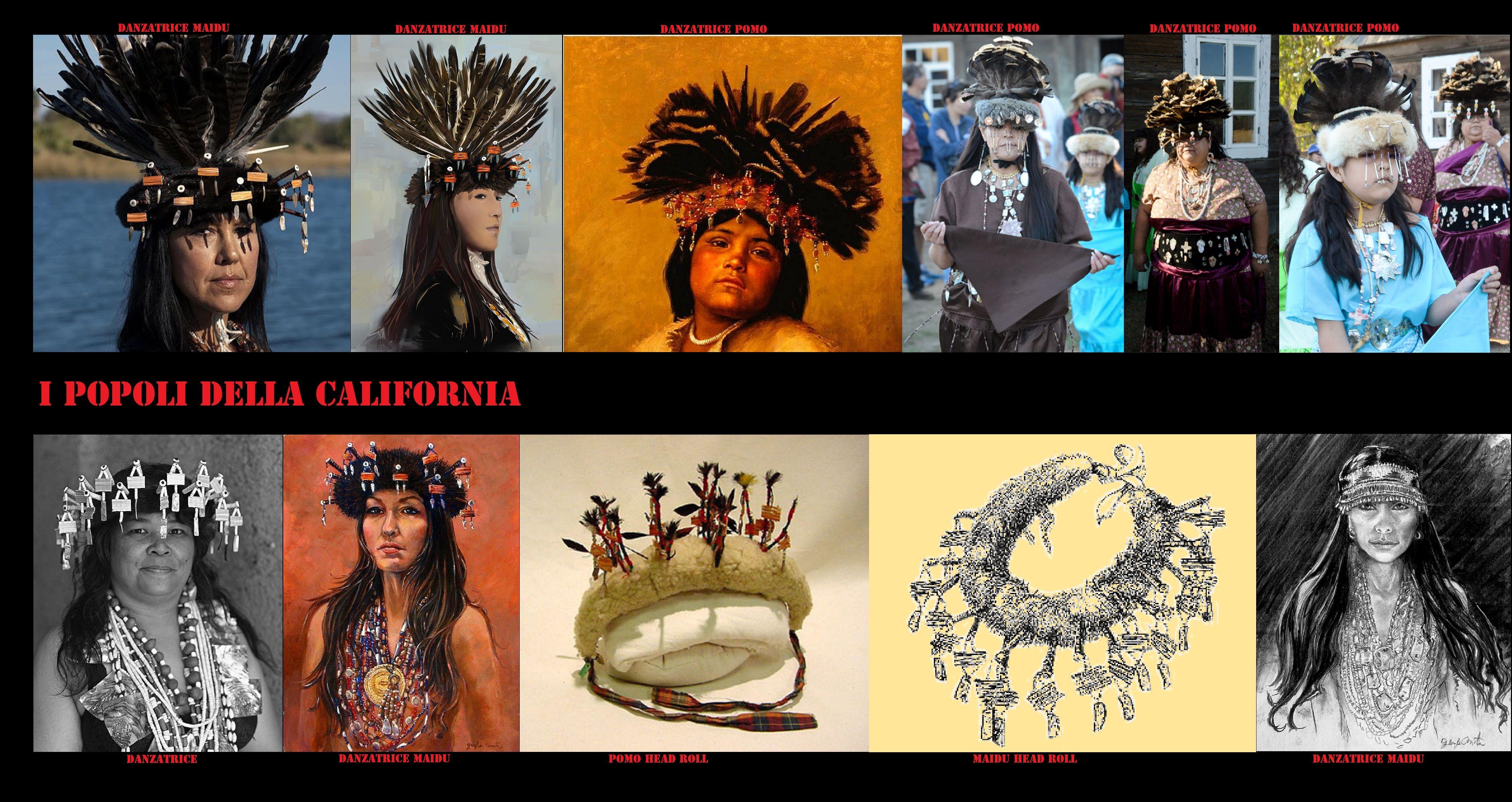 Copricapi femminili da danza piumati.  I copricapi piumati da danza non erano ad appannaggio esclusivo dei danzatori maschi, qui sono esposti alcuni reperti usati dalle donne nei rituali dei Pomo e dei Maidu