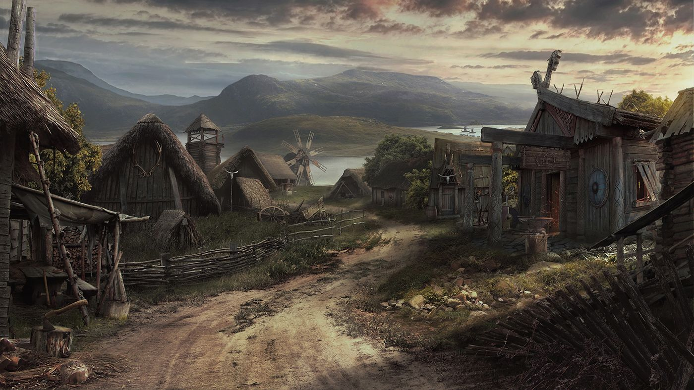 Viking Village on Behance | Fantasy town, Viking village, Fantasy landscape